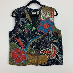 Vintage embroidered boho chic vest Chico's m/l 2